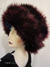 excentric hat, XS-M, wine-red, black, plum faux-fur, 2012-2013 winter hats elegance