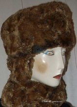 toque hat 56/S rust and grey crumpled faux-fur, futuristic-retro shapka