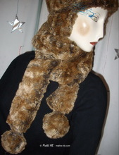 2 PomPom scarve, grey and rust crumpled mink faux fur, elegance 2012 winter