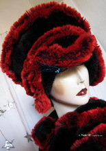 avant-gardist hat, black-red-plum faux-fur, 2012-1013 winter elegance