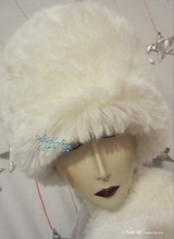 elegant hat, wolf white, S-M, faux-fur, winter wedding-ceremony