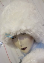 chapka, wolf white, XXL faux-fur winter hat, wedding ceremony
