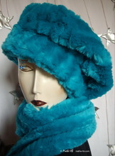 beret, turquoise blue, winter hat faux-fur, L-XL