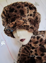 beret, leopard, chestnut and caramel, winter hat faux-fur, L-XL