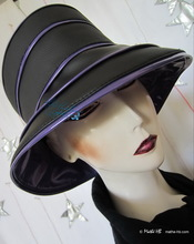 rain hat, black and purple lila, 60-61/XL
