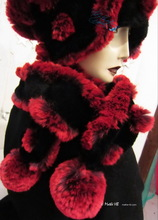 scarve, 2 PomPom, black and red faux-fur, 2012-2013 winter