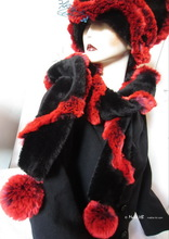 scarve, PomPom black and red plum faux-fur, winter