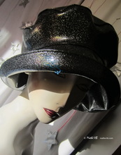 rain hat, 58-59/L, silver sequins black leatherette