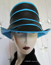rain hat -Venitia- black and turquoise blue, L