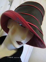 rain hat, -Venitia-, black and pearly-fushia-pink, 58-59/L, elegance-eccentric, original rain-hat