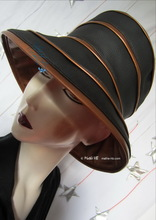 rain hat, -Venitia-, ebony black and bronze gold, XL