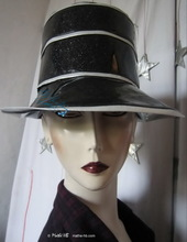 rain-hat, -Hermoza- silver-sequins-black and white, M