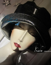 rain hat, 60.61/XL, silver sequins black leatherette