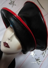 rain hat, black-ebony and red, 60-61/XL, retro style eccentric elegance, handmade, made-in-France