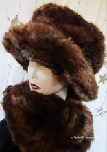 hat, chestnut and caramel faux-fur, winter hat L-XL