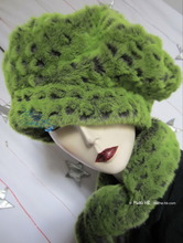 Hat, caïman green flash faux-fur, winter hat, M-L