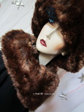 asymetrique shawl collar, chestnut and caramel, faux-fur, winter