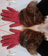 winter cuffs, heat-wrists, chestnut and caramel faux-fur