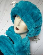 beret, turquoise faux-fur, on-order, winter hat