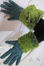 wrists warmers, caiman green flash yello faux-fur, winter cuffs