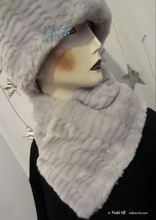 collar scarve,white gray pearl and white-snows faux fur, winter