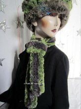 scarf, alligator green flash and grey faux fur, winter scarf