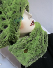 collar scarf, alligator green flash and grey faux fur, winter collar