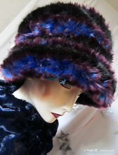 hat, black and blue king and plum spiral faux-fur, winter hat
