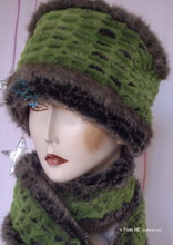 hat, flash caiman green, alligator green and grey-kaki faux fur