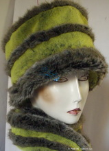 hat, flash green yellow & dark grey, eccentric toque