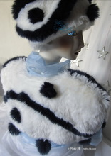 bolero jacket, wolf white and blue iridescent night marinates wave faux fur