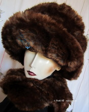 hat, chestnut and caramel faux-fur, winter hat, M-L