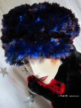 beret, blue king and plum faux-fur, L, winter hat,