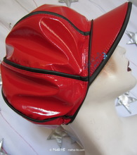 rain cap, black and red, unisexe rain cap, XS...M, eccentric retro