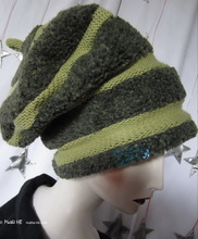 beret, anise green and khaki, unisex beret, L-XL