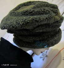 beret, XL, olive knitted, khaki green flecked,  fitted-carp-imitation, winter hat