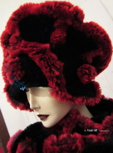 schapka, black and red and plum faux-fur,
