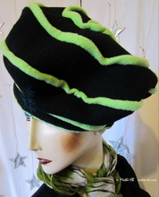 winter beret, apple green spiral and black, felted wool