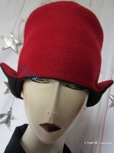 hat, schapka, black and red felted wool knitted, autumn, winter