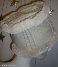 """peace and love"" winter hat, S, white-cream wool, sand-white faux-fur, party, night"