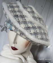 beret, squares white-cream & gray-blue wool, L-XL