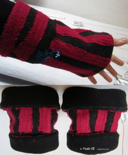 wristbands, black wool and red knitted recycled wristarmers,