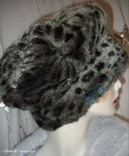 beret, black and grey, leopard-beret faux-fur, S-M, winter-hat