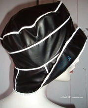 rain hat, black and white, retro eccentric woman M