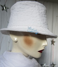 hat, white vintage-cotton, boutis-embroidery, L