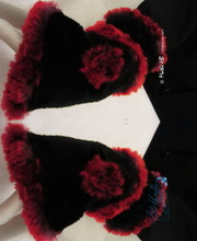 wristbands, pompon wristarmers, black and red plum faux-fur