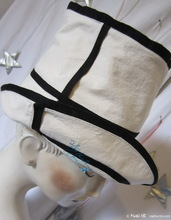 summer sun-hat, sand white and black linen-cotton, XXS