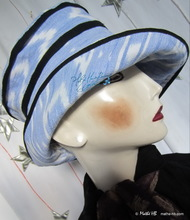 summer hat, white and pastel blue, lined and cotton