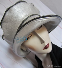 rain hat, black and pearly pearl silver, X-L
