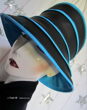 hat-to-order, rain-hat black and turquoise-blue